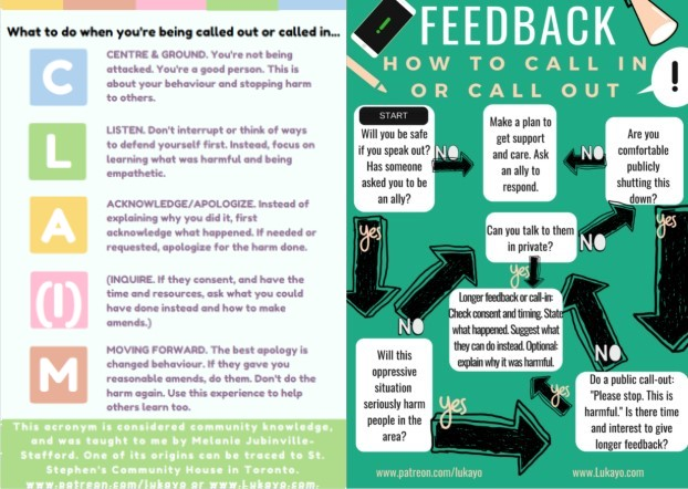 Small images of two posters about taking and receiving feedback
